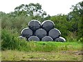 SK2332 : Hay bale pyramid by Ian Calderwood