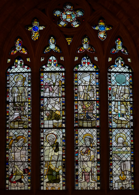Medieval west window, St Mary Redcliffe church, Bristol