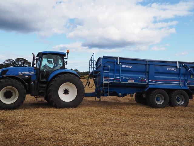 Blue New Holland Tractor and Blue Stewart Trailer at Birnieknowes