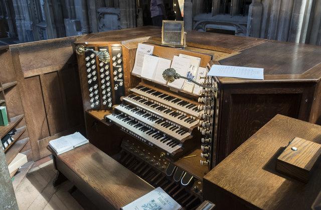 Organ console, St Mary Redcliffe church, Bristol