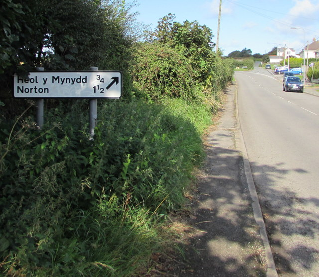 Direction and distances sign in St Brides Major