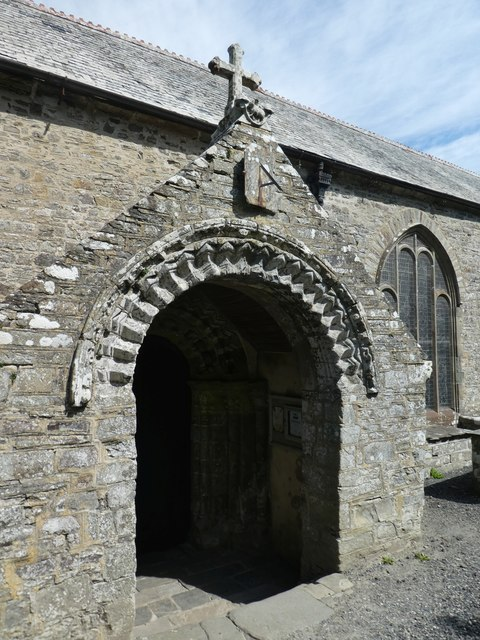 The Norman porch of Morwenstow church