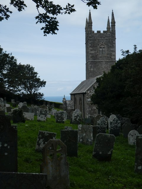 Looking west in Morwenstow churchyard to the sea