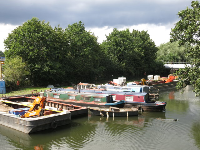 Boats on the River Colne where it joins the Grand Union Canal