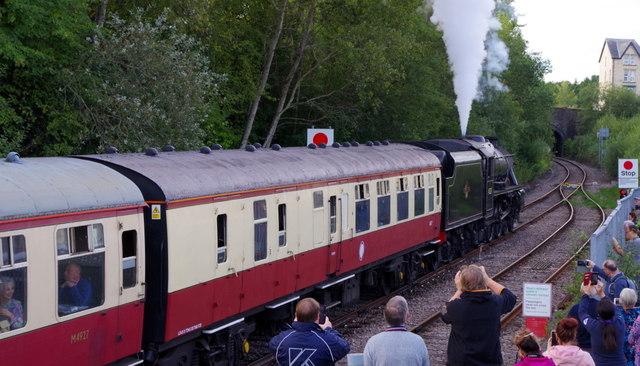 Steam train departing Llandrindod Wells