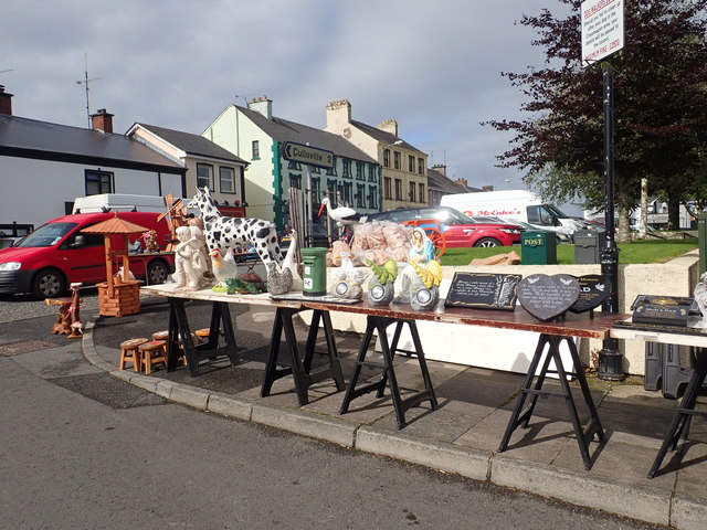 Grave sculptures and plaques at Crossmaglen Market