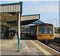 ST1067 : Class 142 dmu at Barry station platform 1 by Jaggery