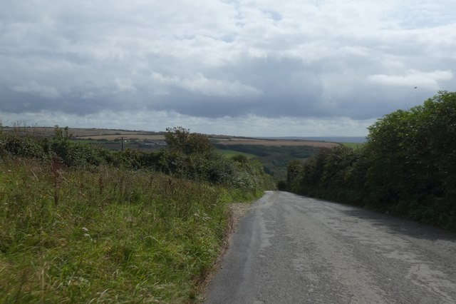 Road dropping towards Coombe