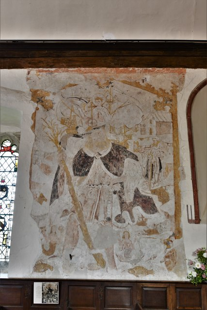 Bramley, St. James Church: c13th St. Christopher wall painting