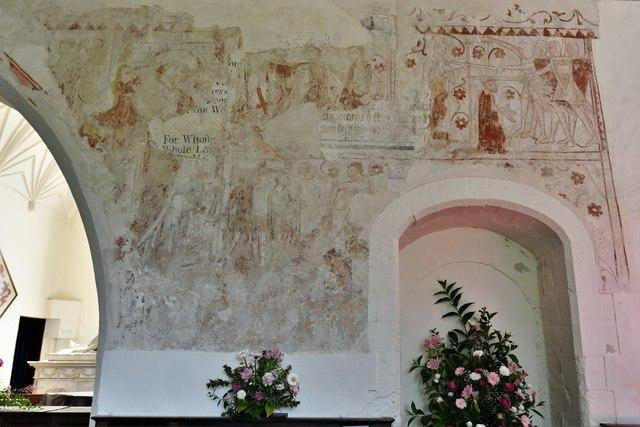 Bramley, St. James Church: South wall c13th wall paintings