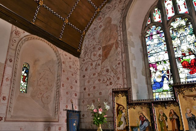 Bramley, St. James Church: c13th wall paintings in the sanctuary 1