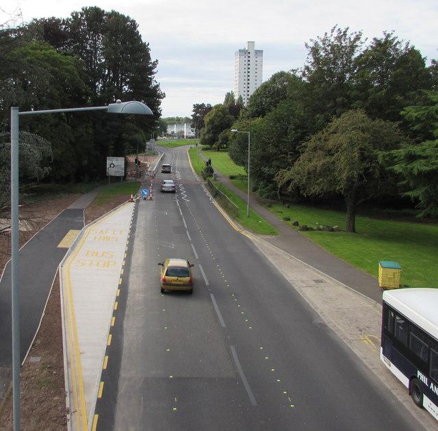 South along St David's Road, Cwmbran