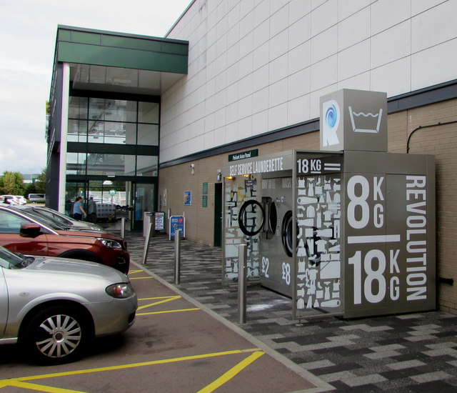 Open-air self-service launderette in Cwmbran