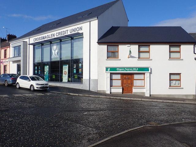 Crossmaglen Credit Union building and the Sinn Féin Constituency Office at Crossmaglen