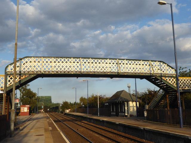 The footbridge at Althorpe station