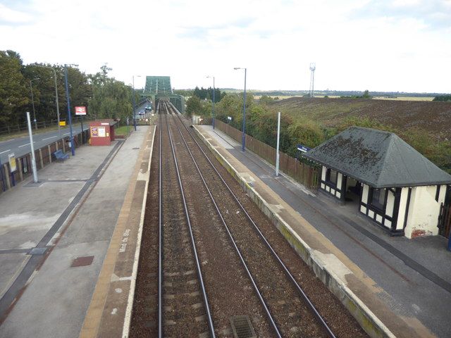 View from the footbridge at Althorpe station