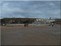 SS2006 : Bude beach, retaining wall of pool and cliffs by David Smith
