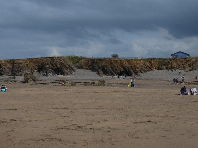 Rock strata at north of Bude beach