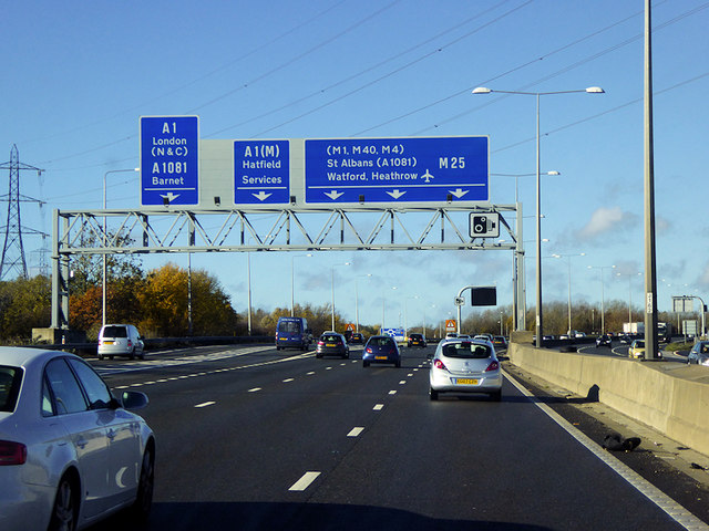 Sign Gantry on the M25 in Hertfordshire