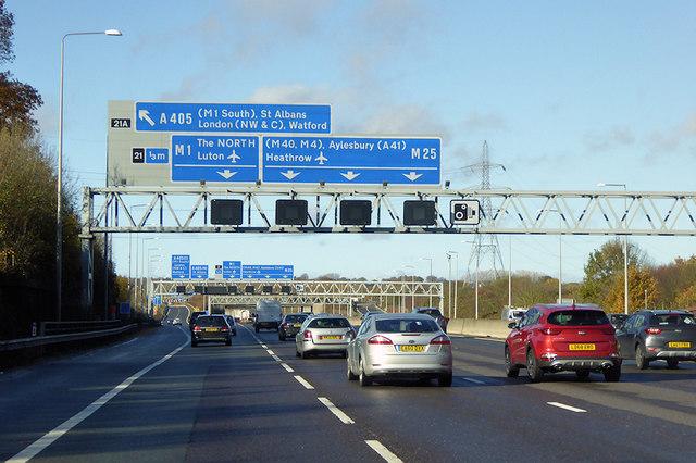 London Orbital Motorway near to Bricket Wood