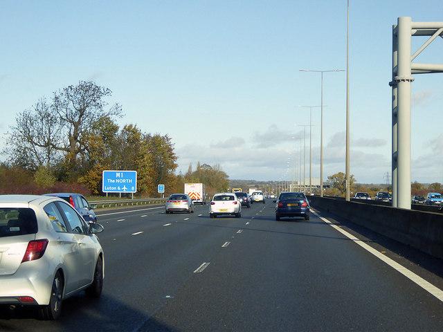 Northbound M1 in  Hertfordshire