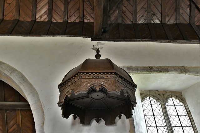 Silchester, St. Mary's Church: Odd domed Jacobean canopy above the pulpit