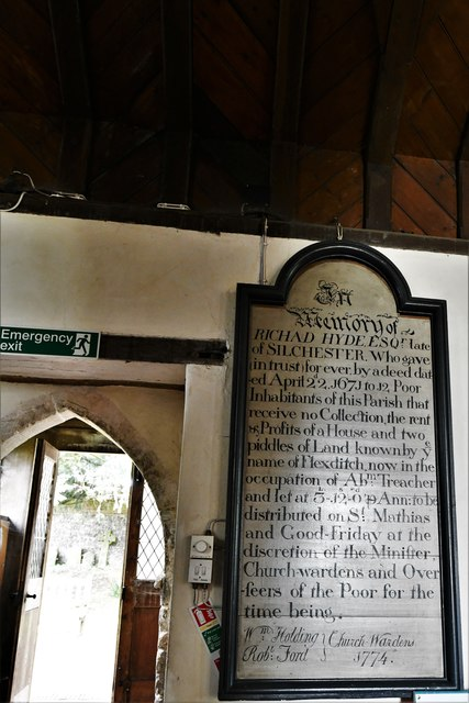 Silchester, St. Mary's Church: Benefaction board to the right of the north doorway