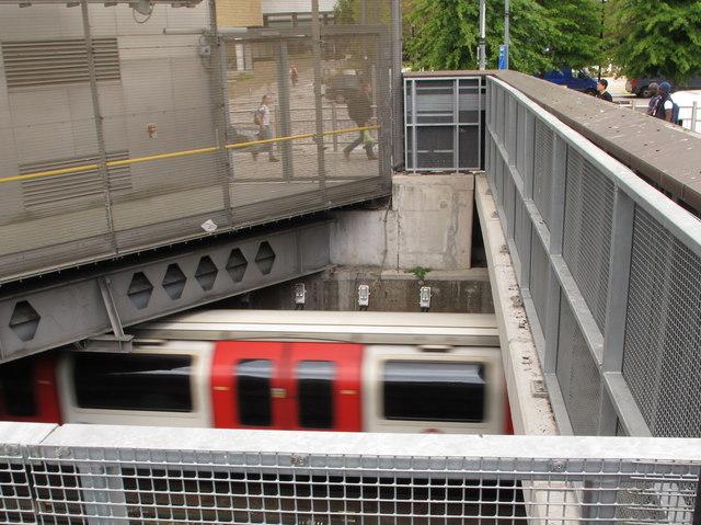 Central Line goes underground at Wood Lane