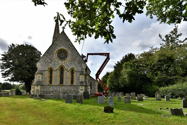 Baughurst, St. Stephen's Church: Eastern aspect with re-roofing work in progress