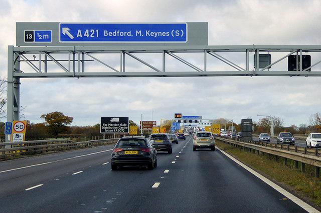 Northbound M1 towards Junction 13