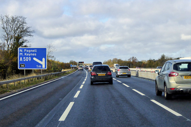 Northbound M1 near Milton Keynes