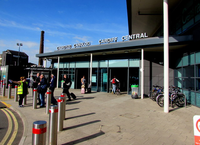 Rear entrance to Cardiff Central railway station