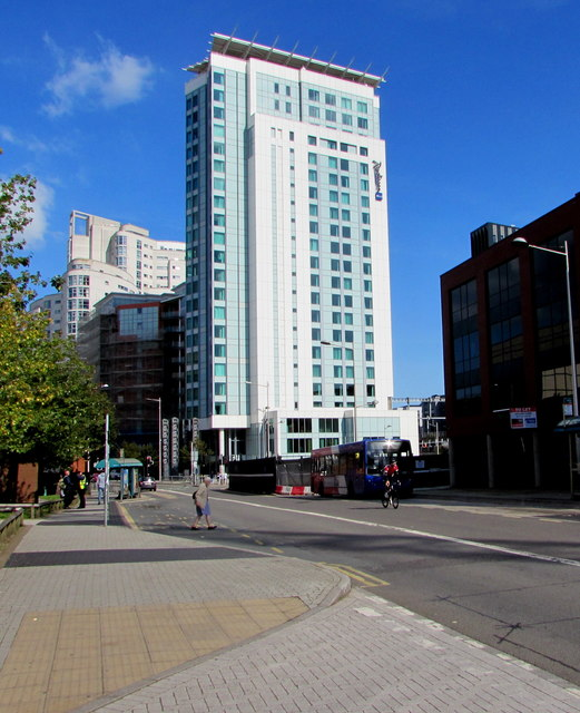 West side of Radisson Blu hotel, Cardiff city centre