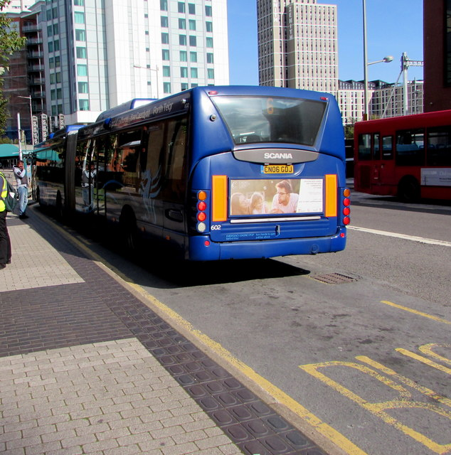 Bendy bus at a Custom House Street bus stop, Cardiff