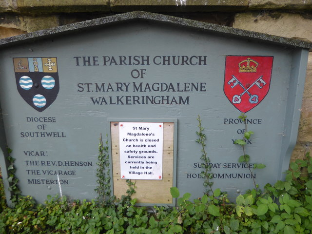 Notice at St Mary Magdalen Church, Walkeringham