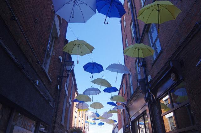 Umbrellas over Butcher's Row, Banbury