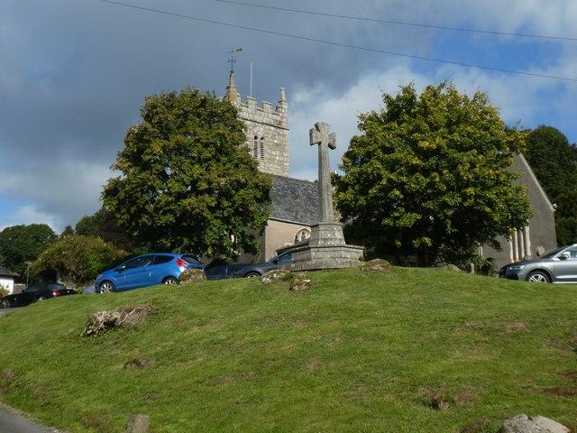 Memorial cross and church tower, Lustleigh