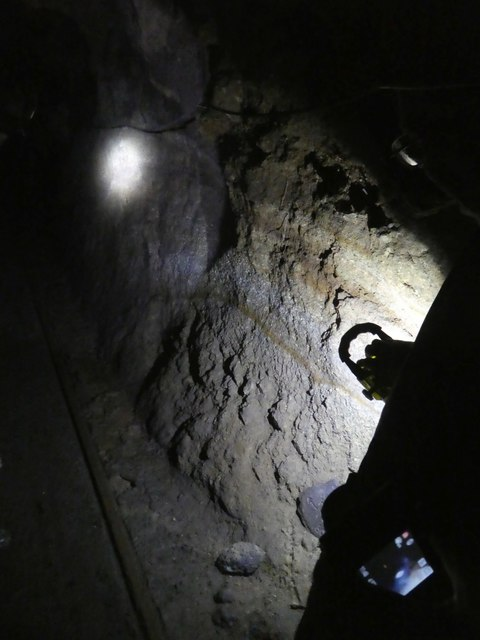 Traces of iron in an underground lode, Kelly Mine