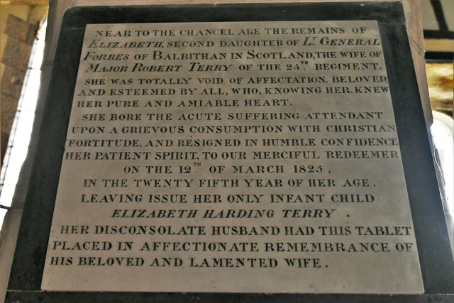 Dummer, All Saints Church: Elizabeth Forbes memorial plaque