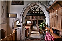 SU5846 : Dummer, All Saints Church: The Early English chancel arch and recently reopened squint by Michael Garlick
