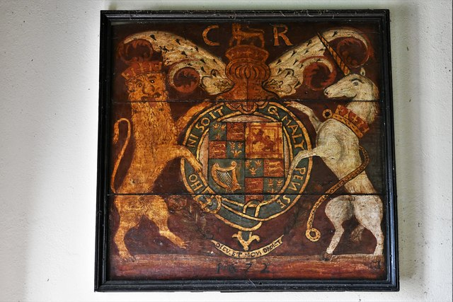 Dummer, All Saints Church: Royal Coat of Arms unusually with a date (1672)