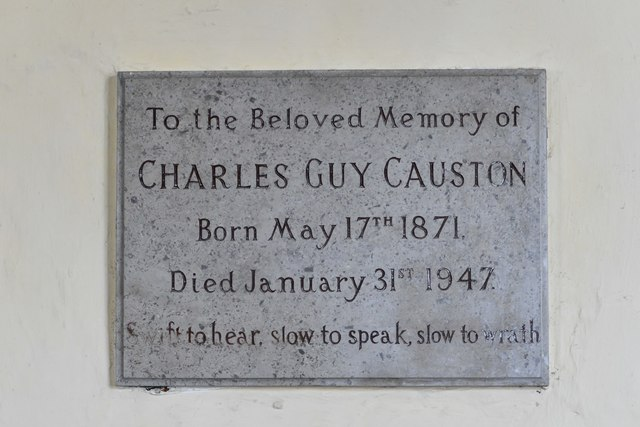 Dummer, All Saints Church: Charles Causton memorial plaque