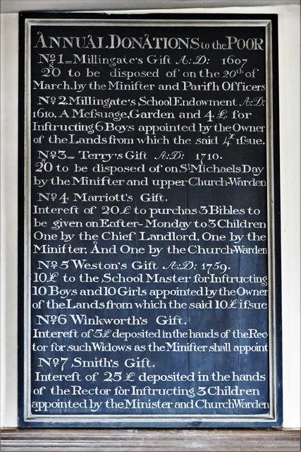 Dummer, All Saints Church: Benefaction board