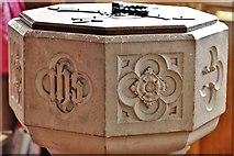 SU5846 : Dummer, All Saints Church: The font bowl by Michael Garlick