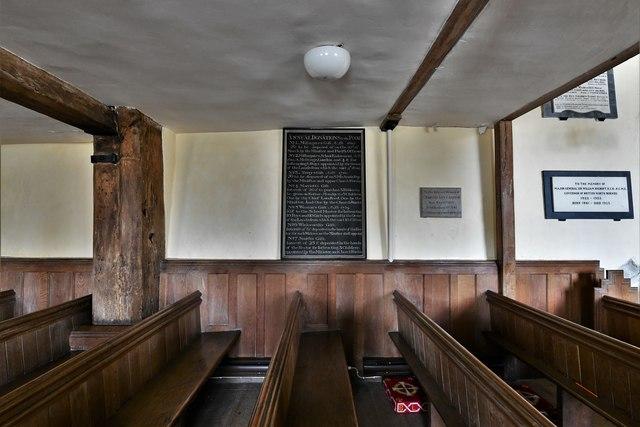 Dummer, All Saints Church: Underneath the Charles II gallery