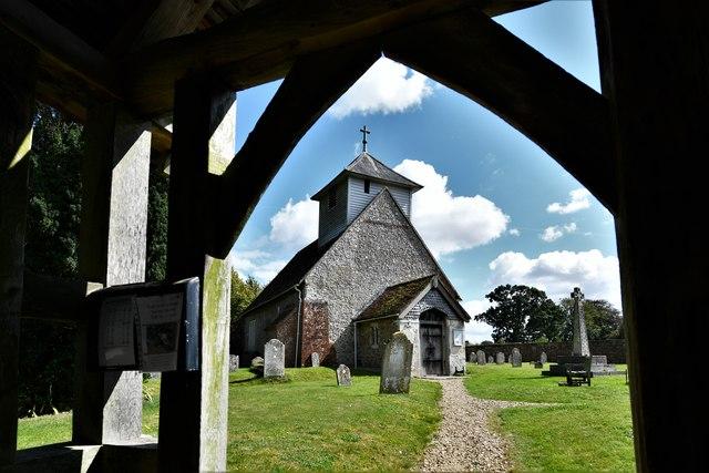 Dummer, All Saints Church: Seen through the lych gate