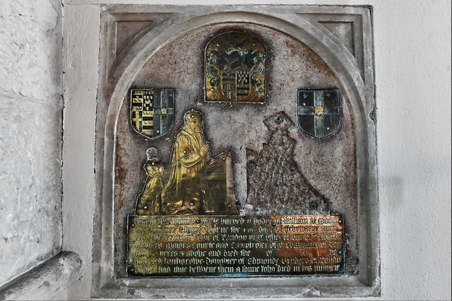 Dummer, All Saints Church: Late c16th brass on the sanctuary east wall 1