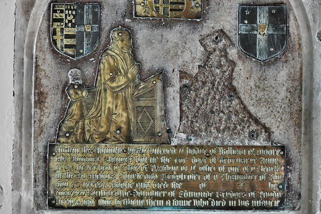 Dummer, All Saints Church: Late c16th brass on the sanctuary east wall 2