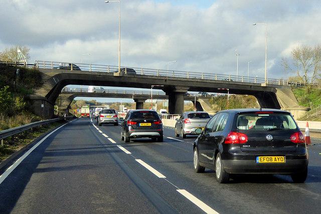 Northbound M1 at Junction 14 (Broughton Interchange)
