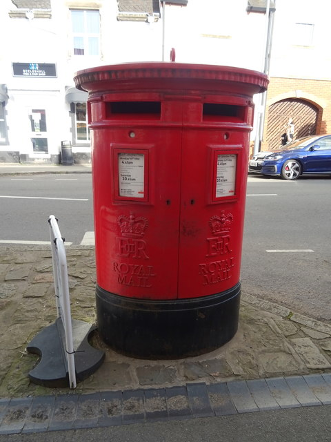 Double aperture Elizabeth II postbox on Stafford Street, Eccleshall